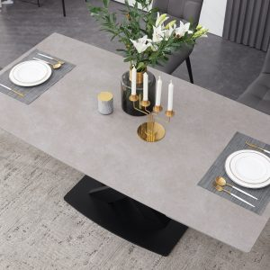 Extending ceramic dining table set in stylish Grey with 6x faux leather chairs