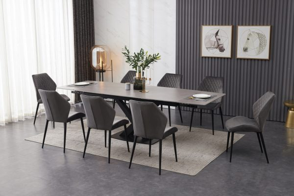 ceramic , grey ,extending dining table with 8 grey velvet dining chairs