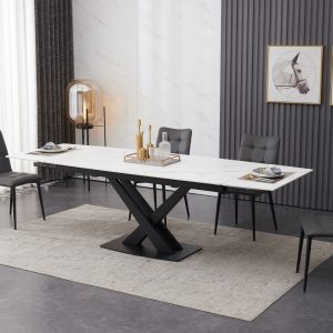 Ceramic Extending White Dining Table with 6 Grey Faux Leather Chairs