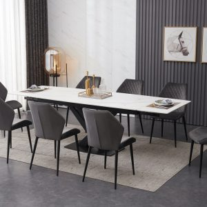 Ceramic White Extendable Table with 8 Velvet Chairs