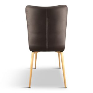 Dining Chairs – Brown Faux Leather - Set of 2