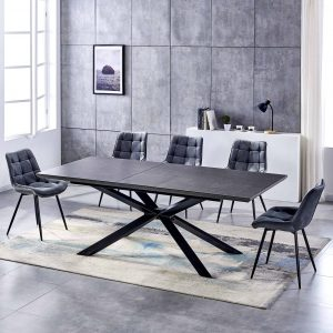 ceramic black extending dining table with 8 grey dining chairs