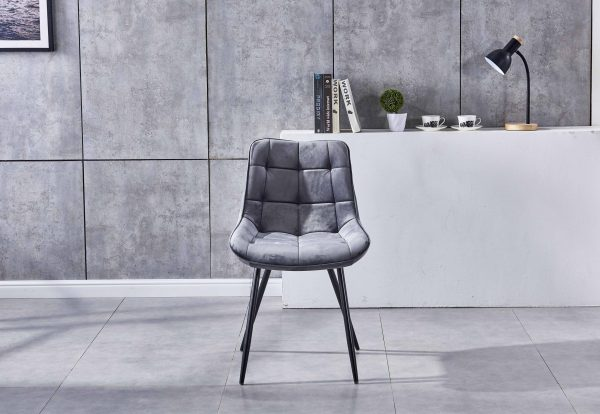 modern dining chair grey velvet