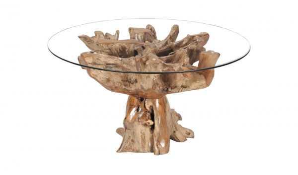 Teak Root Dining Table Round With 140 Glass Top Tables