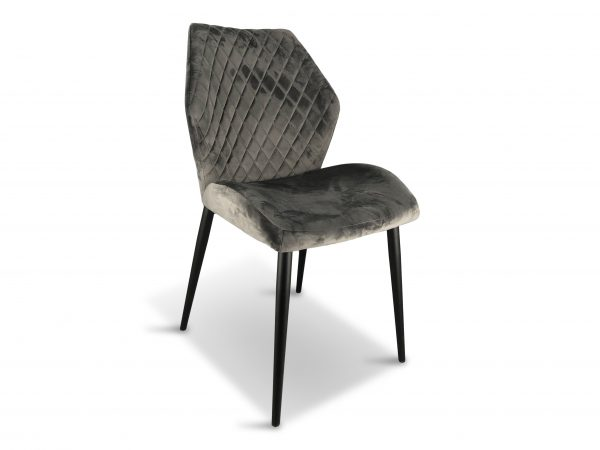 grey dining chair velvet x 2