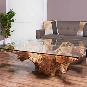 teak root coffee table square large