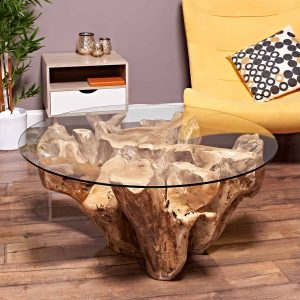 teak root coffee table round 100cm
