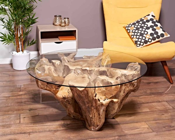 teak root coffee table round 100cm
