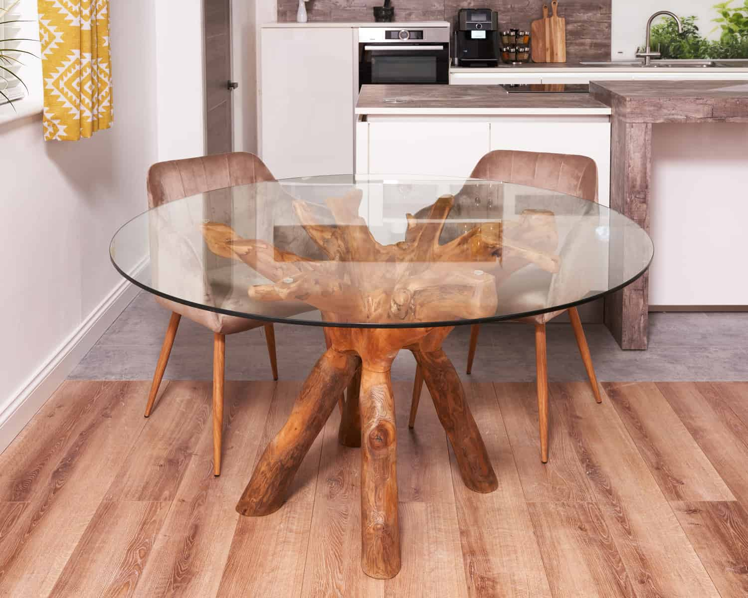 teak root dining table round with 140 glass top