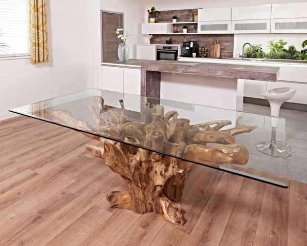 teak root rectangle dining table with 2m x 1 m glass