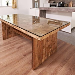 Reclaimed teak dining table with 8 chairs