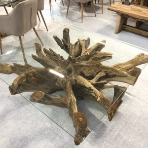 square teak root coffee table