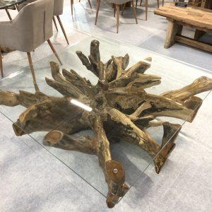square teak root coffee table