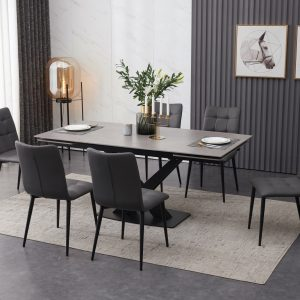 ceramic grey extending dining table set with 6 grey faux leather dining chairs