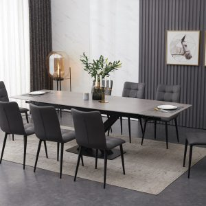 ceramic grey extending dining table set inc 8 grey faux leather chairs