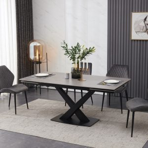 extending ceramic dining table set grey