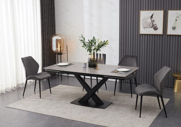extending ceramic dining table set  grey