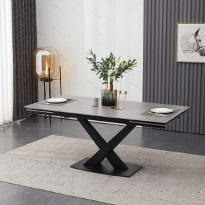Extending Dining Table – Grey Ceramic