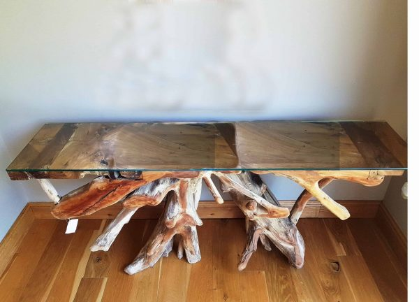 teak root console side table