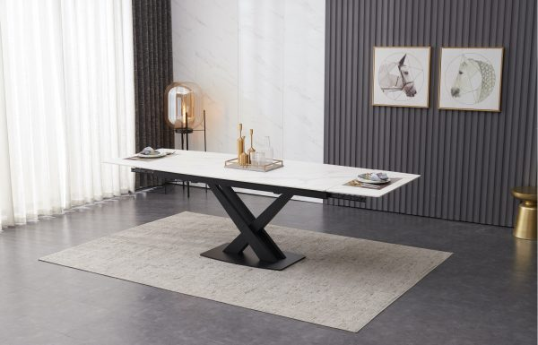 ceramic extending table white top 180-250 cm