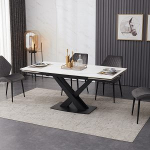 extending dining table white ceramic inc 6 velvet chairs