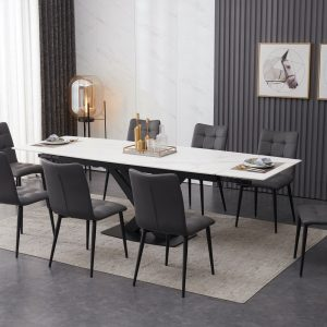 ceramic white extending dining table set inc 8 grey faux leather chairs