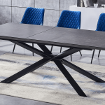 zoom grey table blue chairs