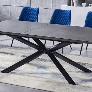 ceramic grey extending table with 6 royal blue chairs