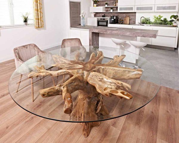 Teak root dining table round set
