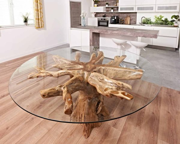 Teak root round table with 180cm round glass
