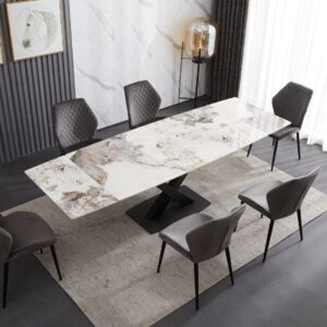 Ceramic Extending Table – White & Copper Marble Style with 6 Velvet Chairs