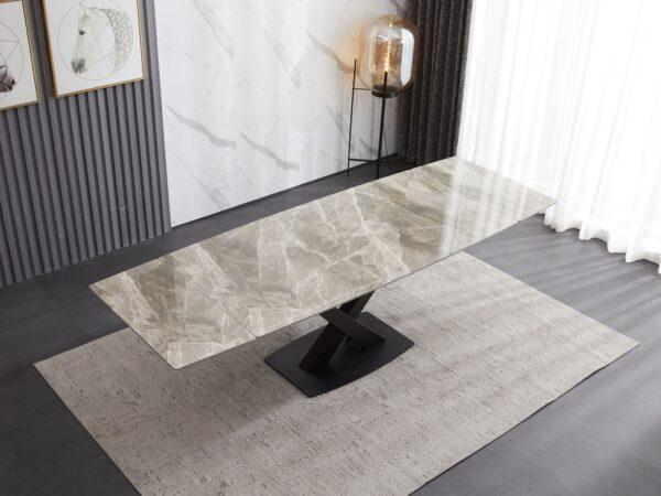 Ceramic Extending Table – Grey & White Gloss