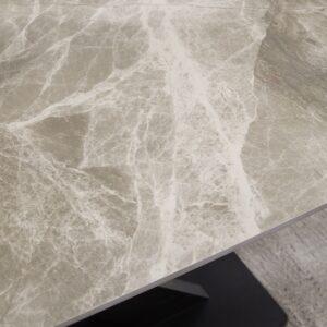 Ceramic Extending Table – Grey & White Gloss with 8 velvet chairs