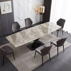 Ceramic Extending Table – Grey & White Gloss with 6 velvet chairs